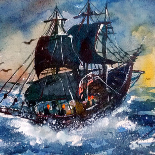 Fishing boat on surf by Tapon Roy, Impressionism Painting, Watercolor on Paper, Blue color