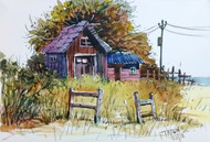 Wooden Cabin by Tapon Roy, Impressionism Painting, Watercolor on Paper, Beige color