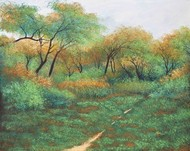 Leaf Carpeted Path by Vimal Chand, Impressionism Painting, Acrylic on Canvas, Green color