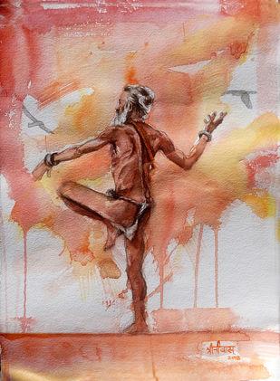 Hara Hara Mahadev by Sreenivasa Ram Makineedi, Impressionism Painting, Watercolor on Paper, Brown color