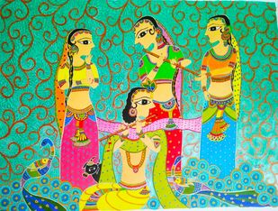 The Sole by Soni, Folk Painting, Acrylic on Paper, Green color