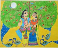 Pure love by Soni, Folk Painting, Acrylic on Paper, Green color