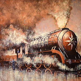 Nostalgia of Indian Steam Locomotives 43 by Kishore Pratim Biswas, Realism Painting, Acrylic on Canvas, Brown color