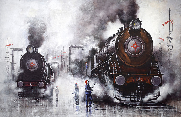 Nostalgia of Indian Steam Locomotives 40 by Kishore Pratim Biswas, Impressionism Painting, Acrylic on Canvas, Gray color