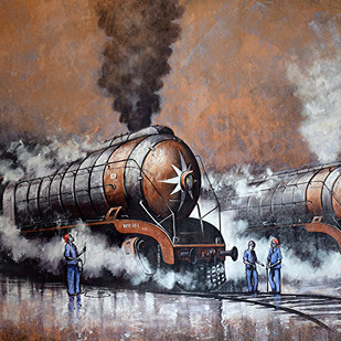 Nostalgia of Indian Steam Locomotives 41 by Kishore Pratim Biswas, Impressionism Painting, Acrylic on Canvas, Brown color