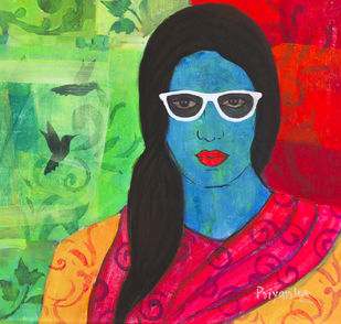 hyper-realistic song of a bird by Priyanka Waghela, Pop Art Painting, Acrylic on Canvas, Green color