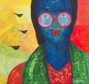 The aviation stories by Priyanka Waghela, Pop Art Painting, Acrylic on Canvas, Blue color