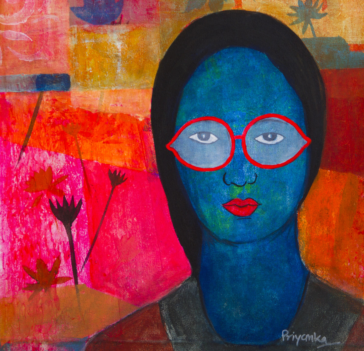 Lost in Magenta by Priyanka Waghela, Expressionism Painting, Acrylic on Board, Blue color