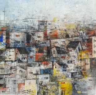 The Village by M Singh, Geometrical Painting, Acrylic on Canvas, Gray color