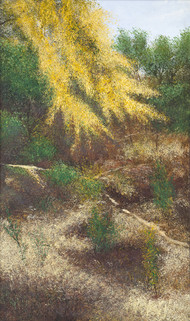 Shady Glades by Vimal Chand, Impressionism Painting, Acrylic on Canvas, Brown color