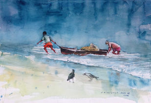 Returning Fishermen by Sreenivasa Ram Makineedi, Impressionism Painting, Watercolor on Paper, Blue color