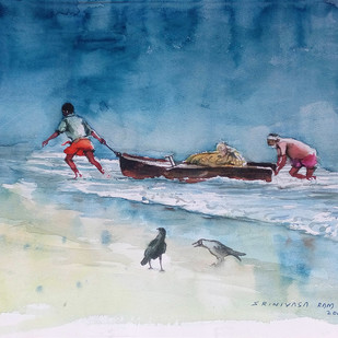Returning Fishermen Digital Print by Sreenivasa Ram Makineedi,Impressionism