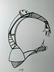 The Perfect 10 by Manjula Gupta, Illustration Drawing, Pen & Ink on Paper, Gray color