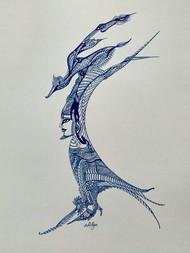 Birds of Prey by Manjula Gupta, Illustration Drawing, Pen & Ink on Paper, Gray color