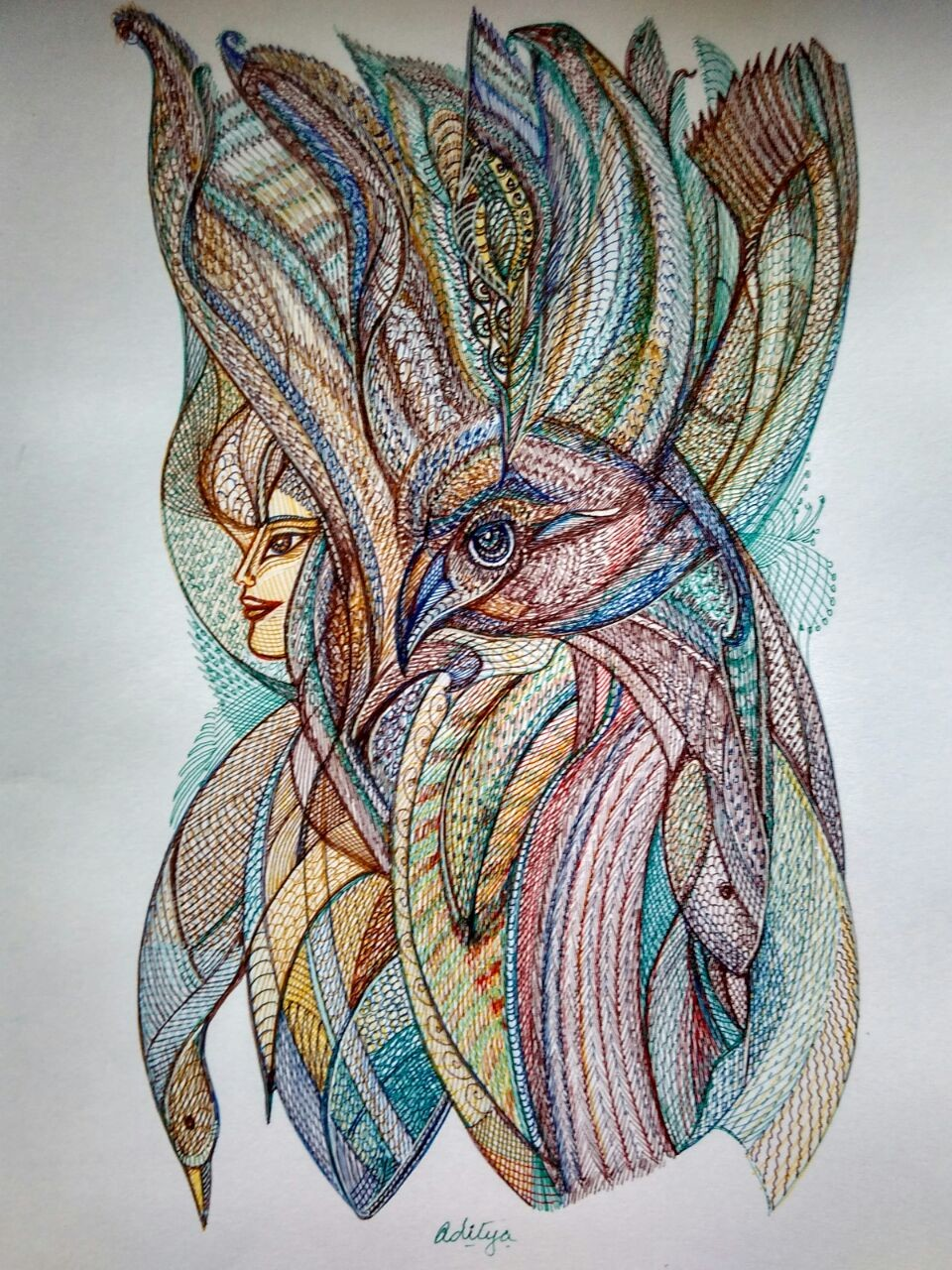 The Phoenix by Manjula Gupta, Illustration Drawing, Pen & Ink on Paper, Gray color