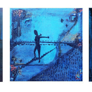 animism 2 by riddhima sharraf, Conceptual Painting, Acrylic on Canvas, Blue color