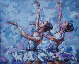 ballerina series by Anindya Mukherjee, Expressionism Painting, Acrylic on Canvas, Blue color