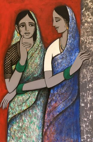 Sakhi II by Nagesh Ghodke, Expressionism Painting, Acrylic on Canvas, Brown color