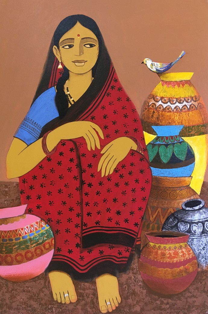 Pot Seller by Nagesh Ghodke, Expressionism Painting, Acrylic on Canvas, Brown color