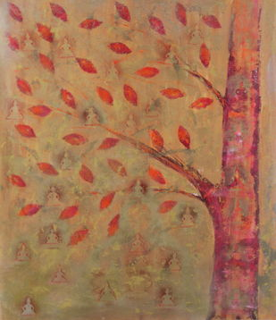 soul tree : enlightenment by Cheena Madan, Expressionism Painting, Acrylic on Canvas, Brown color