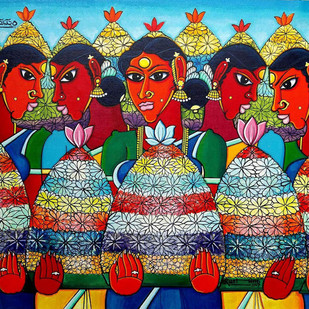 bathukamma by M D Rustum, Decorative Painting, Acrylic on Canvas, Brown color
