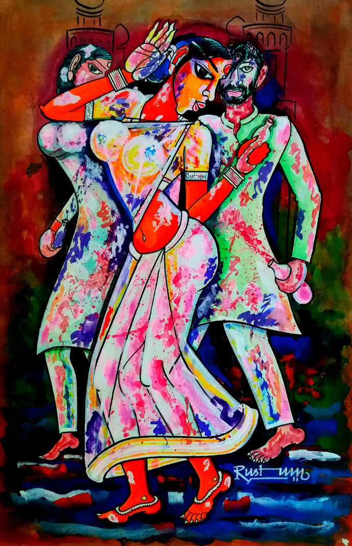 HOLI by M D Rustum, Decorative Painting, Acrylic on Paper, Brown color