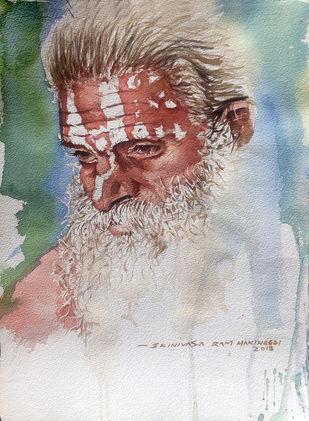 Portrait of a sadhu. Digital Print by Sreenivasa Ram Makineedi,Expressionism