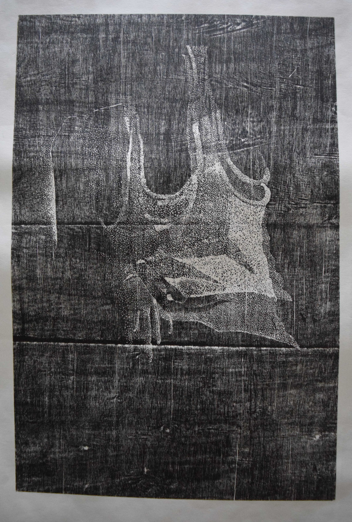 untitled by Tarun Sharma, Expressionism Printmaking, Wood Cut on Paper, Gray color