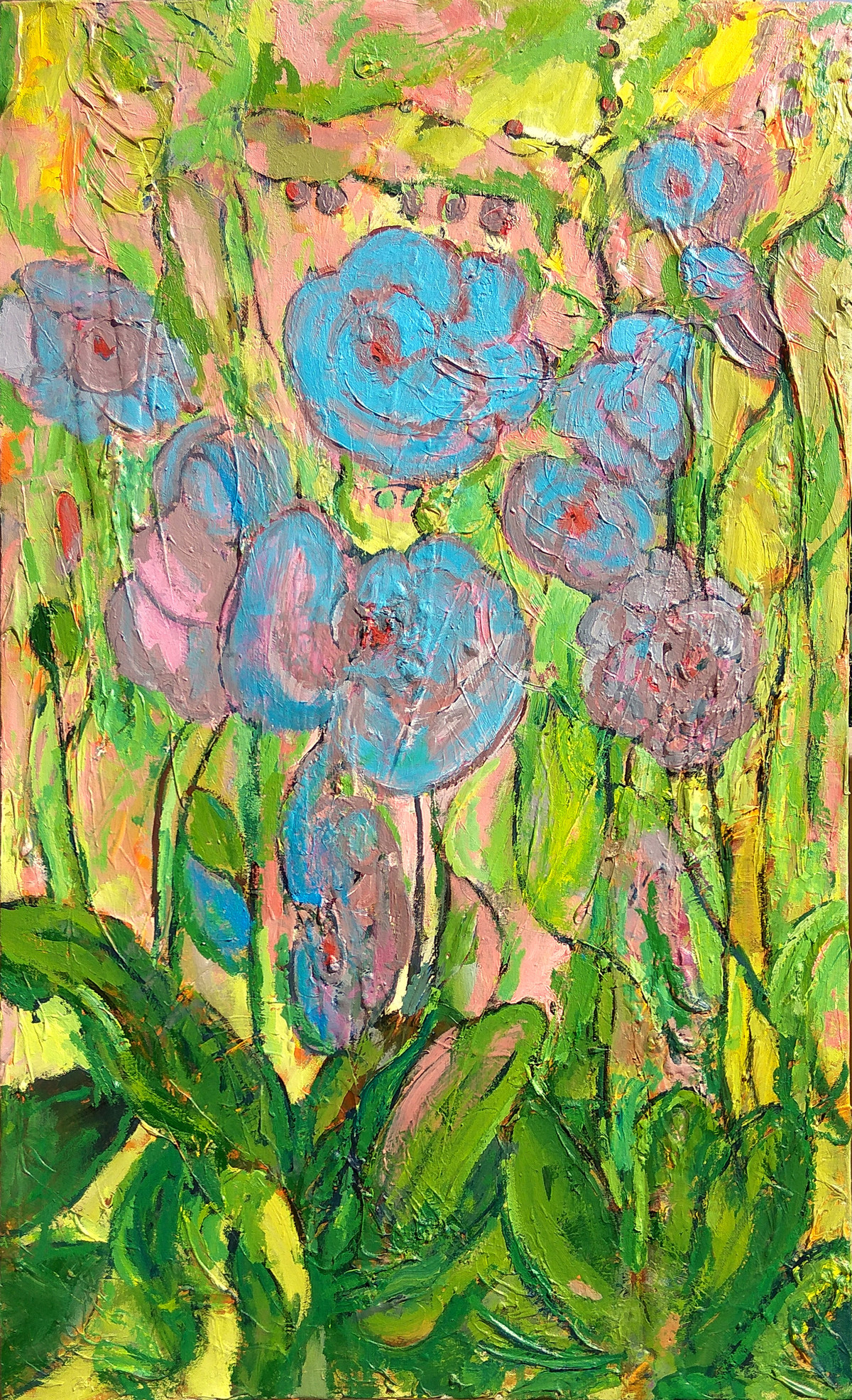 Orchids by Animesh Roy, Expressionism Painting, Acrylic on Canvas, Green color
