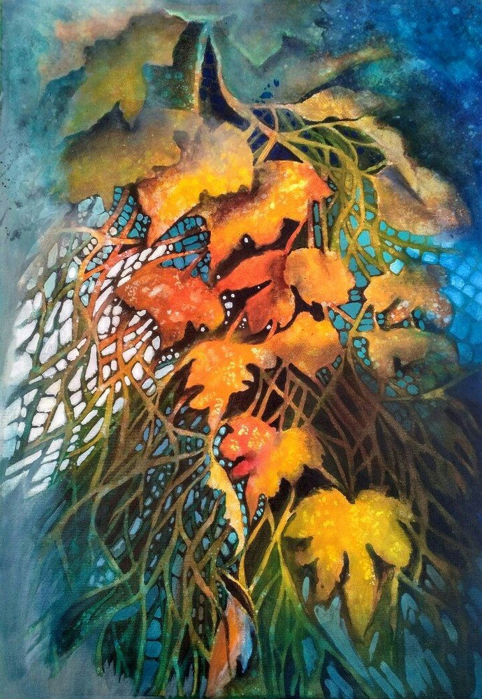 Autumn is second Spring by Arti Vohra, Expressionism Painting, Acrylic on Canvas, Green color