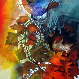 Autumn Mystery by Arti Vohra, Expressionism Painting, Acrylic on Canvas, Brown color