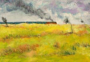 'লালগোলা শিয়ালদহ প্যাসেঞ্জার' ('Lalgola Sealdah Passenger'): Memories from My Childhood (2) by Animesh Roy, Expressionism Painting, Oil on Linen, Green color