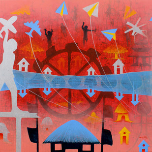 From Village to the Virtual World Digital Print by Lakhan Singh Jat,Expressionism
