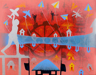 From Village to the Virtual World by Lakhan Singh Jat, Expressionism Painting, Acrylic on Canvas, Pink color