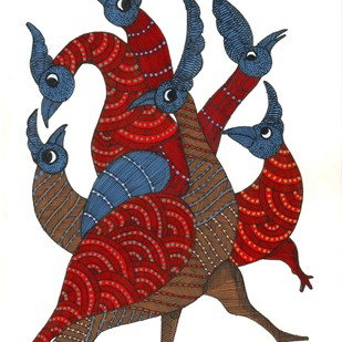 Melodious Peacocks by Sunil Shyam , Tribal Drawing, Acrylic & Ink on Paper, White color