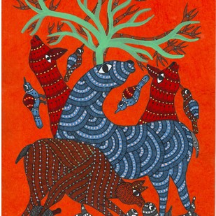 My Play Mates by Sunil Shyam , Tribal Drawing, Acrylic & Ink on Paper, Red color