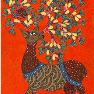 Play Time by Sunil Shyam , Tribal Drawing, Acrylic & Ink on Paper, Brown color