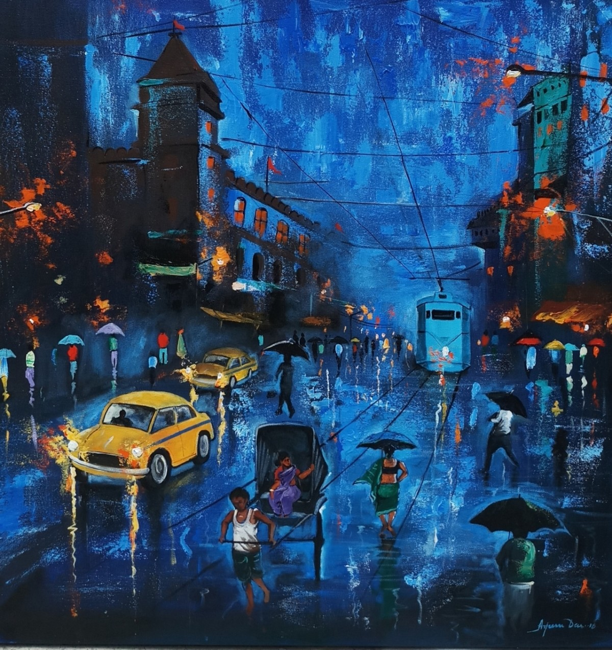 Blue sky Rainy Day by Arjun das, Expressionism Painting, Acrylic on Canvas, Blue color