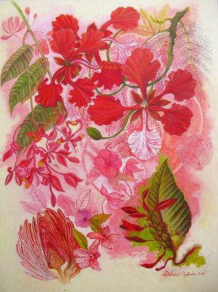 Gulmohor by Debarati Roy Saha, Expressionism Painting, Mixed Media, Pink color