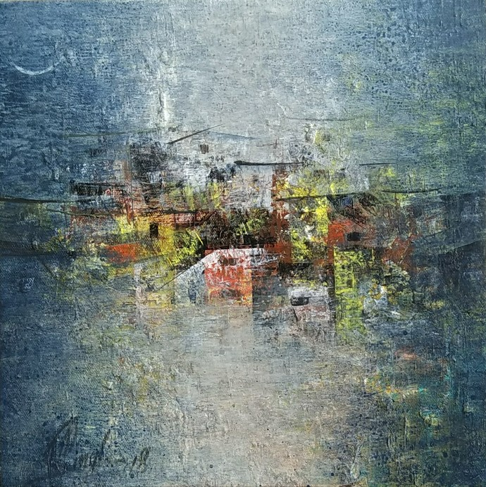 Distant view by M Singh, Abstract Painting, Acrylic on Canvas, Green color
