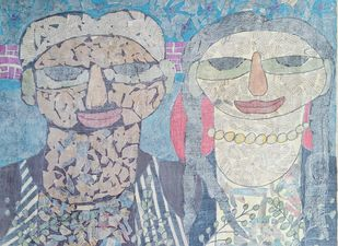 The Couple - II by Ramakanth Ponnaganti, Pop Art Drawing, Mixed Media on Paper, Gray color