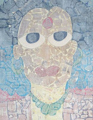 The Woman - III by Ramakanth Ponnaganti, Pop Art Drawing, Mixed Media on Paper, Cyan color