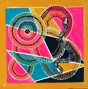 snake and dots by Promila Arora, Geometrical Painting, Oil & Acrylic on Canvas, Pink color