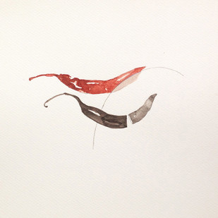 untitled 1459 by Arvind Patel, Minimalism Drawing, Watercolor on Paper, Beige color