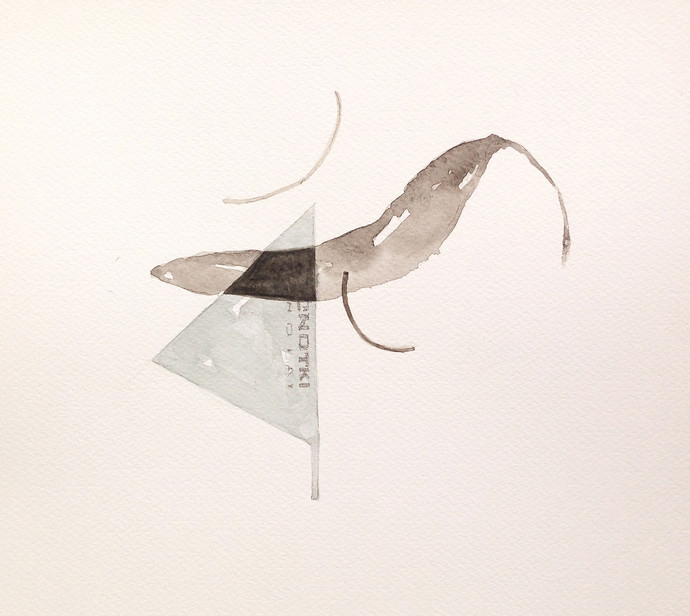 untitled 1460 by Arvind Patel, Minimalism Drawing, Watercolor on Paper, Beige color