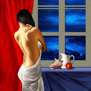 The Anticipation by Amiya Bhattacharya, Realism Painting, Mixed Media on Canvas, Blue color