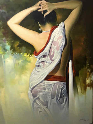 A Picture of Grace by Amit Bhar, Realism Painting, Oil & Acrylic on Canvas, Brown color