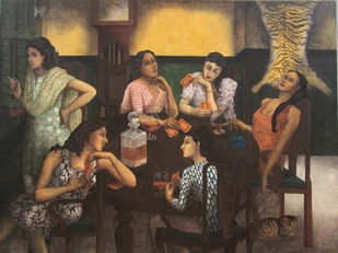 The Last Sipper by Anjan Patra, Expressionism Painting, Tempera on Canvas, Brown color