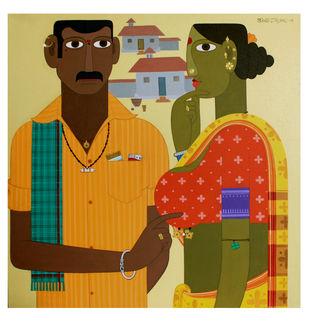 Couple -3 by Kandi Narsimlu, Traditional Painting, Acrylic on Canvas, Beige color