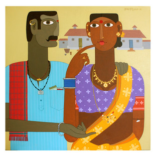 Couple -2 by Kandi Narsimlu, Expressionism Painting, Acrylic on Canvas, Beige color